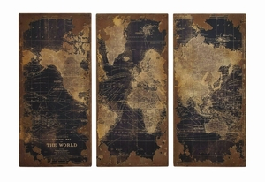 Assorted Vintage Printed World Map Wood Wall Panels Set of 3 Brand Benzara