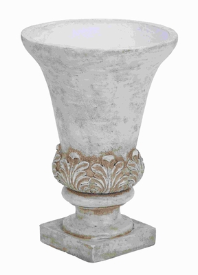 Urbane and Elegant Ceramic Planter Urn in Rich Ivory Finish Brand Woodland