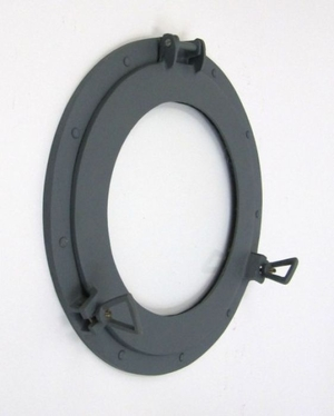 US Navy Battleship Aluminum Porthole Glass Wall Decor in Ebony Black Finish by IOTC