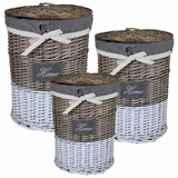 Useful 3pc Round Willow Hamper by Entrada by Entrada