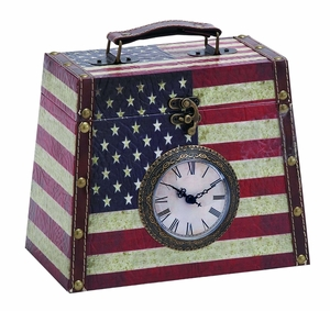 Useful Leather Clock Box With Classic American Flag Brand Woodland