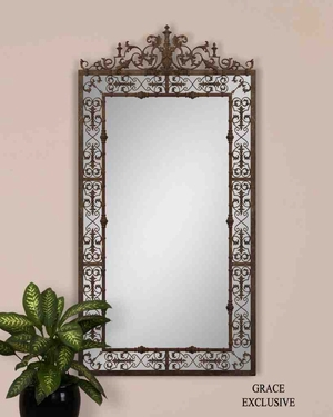 UT12764 VARESE Mirror with Hand Forged Metal Frame, by Grace Feyock Brand Uttermost