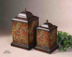 UT19166 COLORFUL FLOWERS Canisters Set/2 Design By Grace Feyock Brand Uttermost