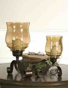 UT19310 JOSELYN Antiqued Bronze Candleholders Set/2 by Billy Moon Brand Uttermost
