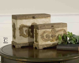 UT19319 SCOTTY Boxes Set/2 Ivory Hand Painted Design by Billy Moon Brand Uttermost