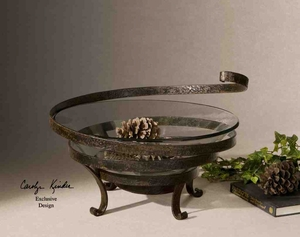 UT19393 DUFF BOWL, Clear Glass Bowl with Metal Stand by Carolyn Kinder Brand Uttermost