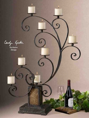 UT19395 KARA Candelabra with Ivory Candles, Design by Carolyn Kinder Brand Uttermost