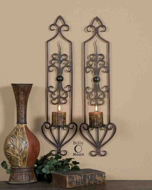 UT20987 PRIVAS Antique Wall Sconces Set/2 Design by Billy Moon Brand Uttermost