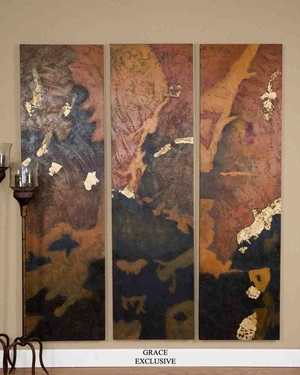 UT32125 VIBRANT SKIES SET/3 Hand Painted Oil on Canvas by Grace Feyock Brand Uttermost
