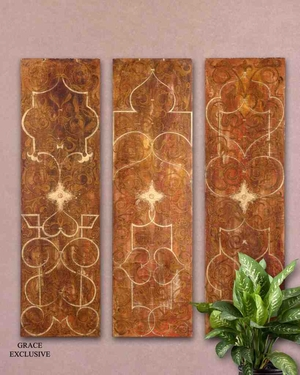 UT32132 SCROLLED Panel I/II/III SET/3 Wall Art Design by Grace Feyock Brand Uttermost