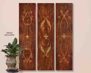 UT32160 ELEGANT Panels Set/3 Wall Art, Hand Painted, by Grace Feyock Brand Uttermost