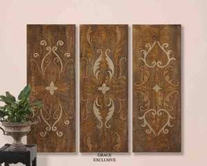 UT32169 ELEGANT SWIRL PANELS SET/3 Wall Art by Grace Feyock Brand Uttermost