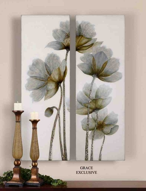 UT34201 FLORAL Glow Wall Art I/II Set/2 Design by Grace Feyock Brand Uttermost