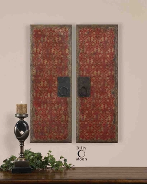 UT35002 RED DOOR PANELS SET/2 Oil Wall Art Design by Billy Moon Brand Uttermost