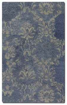 Valence Blue 5' Cut Shag Blue Wool Rug with Beige Damask Pattern Brand Uttermost
