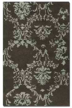 Valence Chocolate 8' Cut Shag Rug with Green Damask Pattern Brand Uttermost