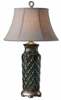 Valenza Table Lamp with Leaf Detailing in Silver Brand Uttermost
