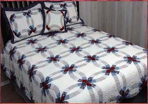 Valley Forge Double Wedding Ring Cotton Quilt Queen Brand American Hometex