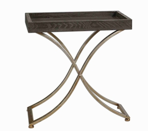 Valli Tray Accent Table With Arched Champagne Steel Stand Brand Uttermost