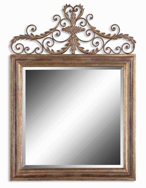 Valonia Antique Mirror with Heavy Gold Leafing and Chestnut Brown Brand Uttermost