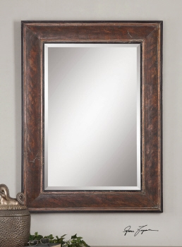 Vanity Mirror - Distinguished Stained Wood Looking Glass Brand Uttermost