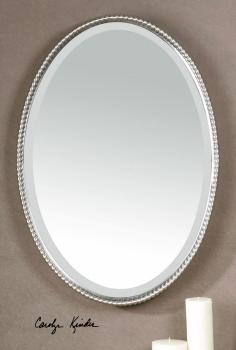 Vanity Mirror - Elegant Brushed Nickel Looking Glass With Pearled Edge Brand Uttermost
