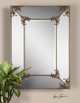 Vanity Mirror - Original Two-Tiered Looking Glass With Floral Frame Brand Uttermost