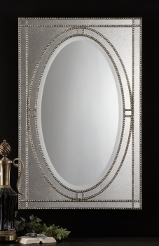 Vanity Mirror - Persian Style Looking Glass With Pearled Champagne Finish Brand Uttermost