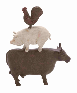 Traditional American Farm Art Trio of Poly Stone Cow, Pig and Rooster - 44717 by Benzara