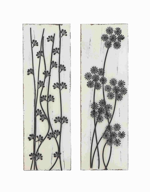 Pine Wood Metal wall decor Assorted with Beautiful Wild Floral - 50244 by Benzara