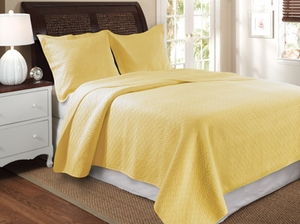 Vashon Yellow Quilt Queen 3 Pcs Bedspread Set 90X90 Brand Greenland Home fashions