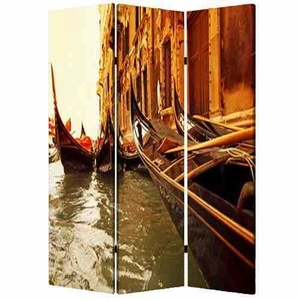 Venice Screen, 3 Panel Canvas Screen, 48 Inch L X 72 Inch H Brand Screen Gems