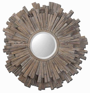 Vermundo Wood Wall Mirror with Burnished Walnut Stain Brand Uttermost