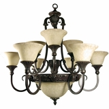 Verona Collection Stylized 12 Lights Chandelier with shade in sienna Bronze by Yosemite Home Decor