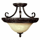 Verona Lighting Collection Contemporary Stylized 3 Light Semi -Flush Mount in sienna Bronze by Yosemite Home Decor