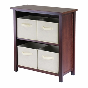 Verona Two Tier Storage Shelf with 4 Basket in Beige Finish by Winsome Woods