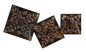 Versatile Metallic Wall Plaque in Copper Finish - Set of 3 Brand Woodland
