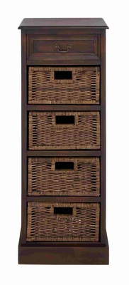 Vertical Wooden Brown Stand with Adorable Jute Baskets Brand Benzara