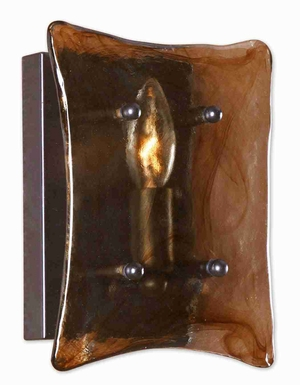 Vetraio 1 Light Wall Sconce With Art Glass and Rubbed Bronze Brand Uttermost