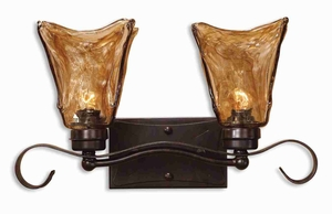 Vetraio 2 Light Bronze Vanity Strip With European Hand Made Glass Brand Uttermost