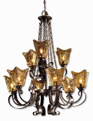 Vetraio 9 Light Chandelier With Hand Made Glass and Iron Bronze Brand Uttermost