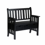 Vibrant Black Country Bench with Storage Drawers by Southern Enterprises
