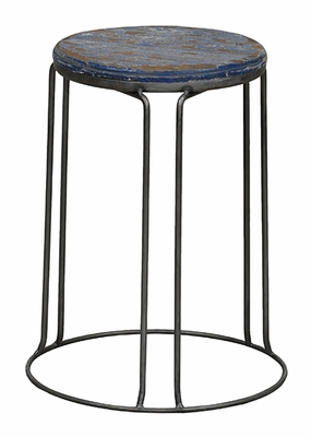 Vibrant Blue Polished Circular Geary Stool