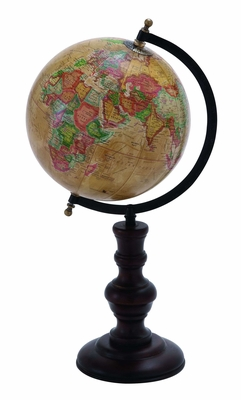 "Vibrant Metal Globe with Brown Wooden Base 18"" Height Brand Woodland"
