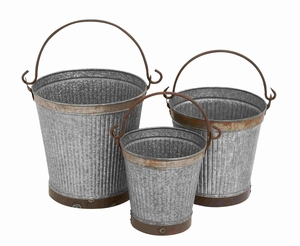 Vicenza Galvanized Bucket Set Aesthetically Embellished Creation Brand Benzara