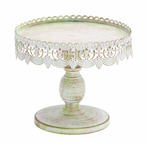 Victorian Era Style Decorative Cake Stand With Rusted Iron Alloy Brand Woodland