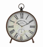 Victorian Styled Customary Metal Table Clock Brand Benzara