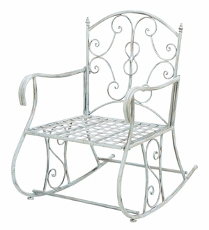 Victorian Themed Outdoor Rocking Arm Chair with Rusted Iron Brand Woodland