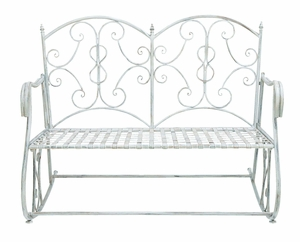 Victorian Themed Outdoor Rocking Bench With Rusted Iron Brand Woodland