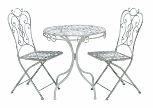 Victorian Themed Outdoor Table And Chair Set With Rusted Iron Brand Woodland